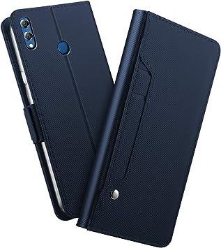 Coque Honor 8X Housse Étui en Cuir Flip Cover Portefeuille [Fermeture Magnétique] Protection Huawei Honor 8X