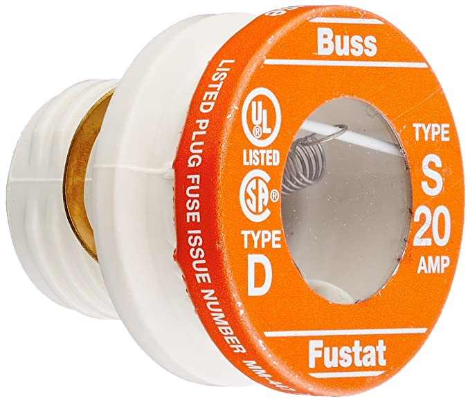 Bussmann BP/S-20 20 Amp Type S Time-Delay Dual-Element Plug Fuse Rejection Base, 125V UL Listed Carded, 2-Pack