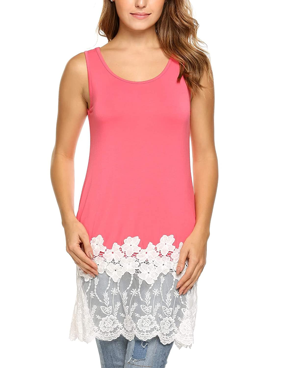 27868c8a1980f5 A soft sleeveless oversized and slim fitting tank top in a variety of soft  heathered colors. Featuring Scoop neck slim fitting cute vintage floral  crochet ...