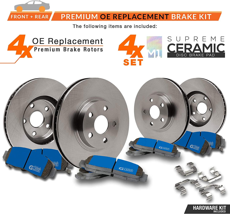 OE Series Rotors + Ceramic Pads KM069143 Fits: 2007 07 2008 08 2009 09 Chevy Equinox Max Brakes Front /& Rear Supreme Brake Kit