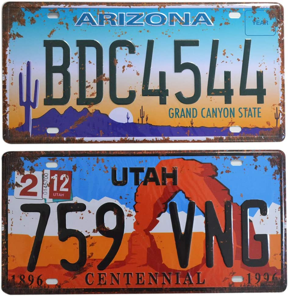 2 Pieces Prop License Plates, Number Tags Replica, Wall Home DIY Man Cave Garage Decor, 6x12 Inch (Utah & Arizona)