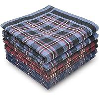 Men's Handkerchiefs Pure Cotton Classic Plaid Hankies 6 Pieces Set