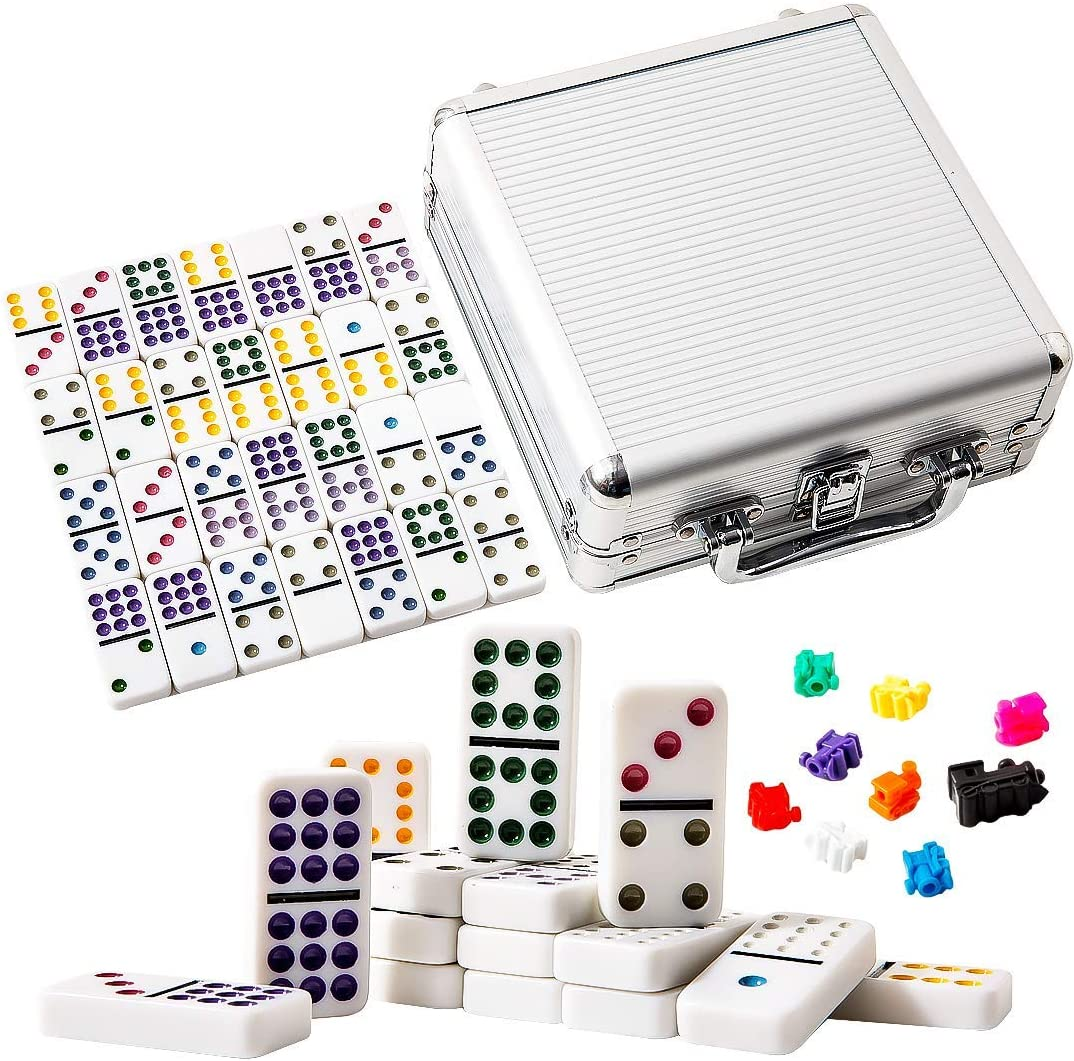 Yinlo Dominoes Set-Double 12 Colored Dot Dominoes 91 Tiles Mexican Train Game Set