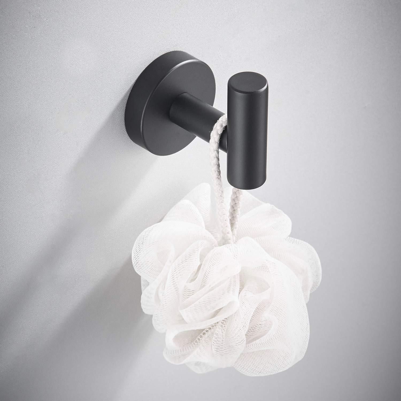 Maxforte Towel Ring Black Hand Towel Holder Bathroom Hardware Round Towel Hanger for Kitchen Bathroom Space Saver SUS304 Stainless Steel Wall Mount Matte Black Finish