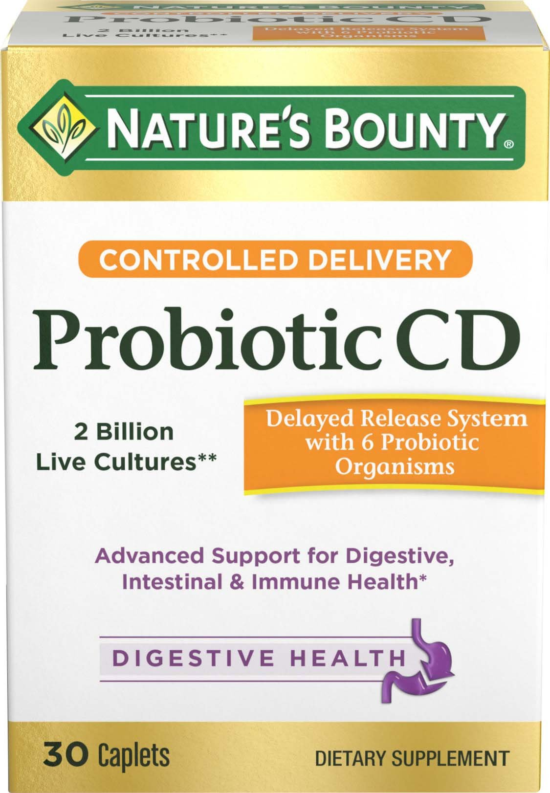 Nature's Bounty Controlled Delivery Probiotic CD, 30 Caplets