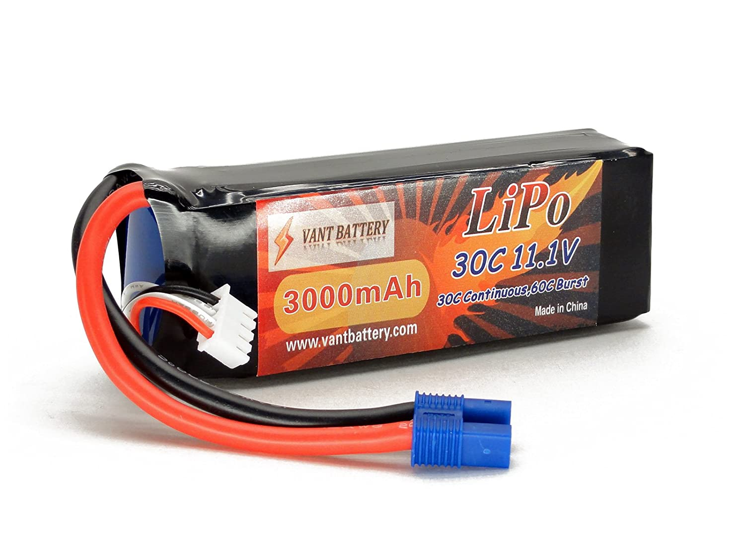 11.1V 3000mAh 3S Cell 30C-60C LiPo Battery Pack w/EC3 (EC-3) Connector Plug (Airplane Helicopter Quadcopter Multirotor Drone UAV FPV 3S3000-30-EC3 EFLB30003S30) Vant Battery