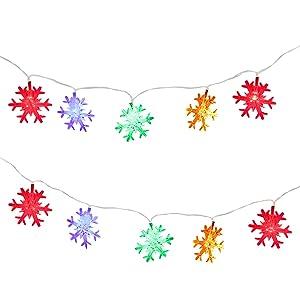 MoKo Luci a Fiocco di Neve, 10m/33ft 100 LED Lampadine Impermeabile, Illuminazione a 2 modalità, Alimentato da Batteria, Decorazione per Natale, Festa, Capodanno, Compleanno, Matrimonio
