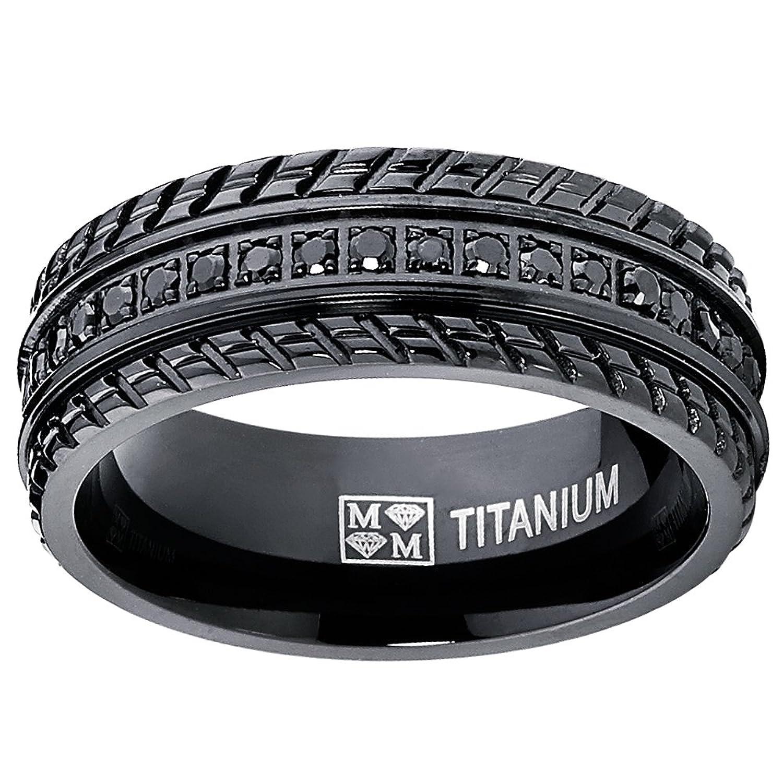 Amazon Men s Black Titanium Pave Set Wedding Band Engagement
