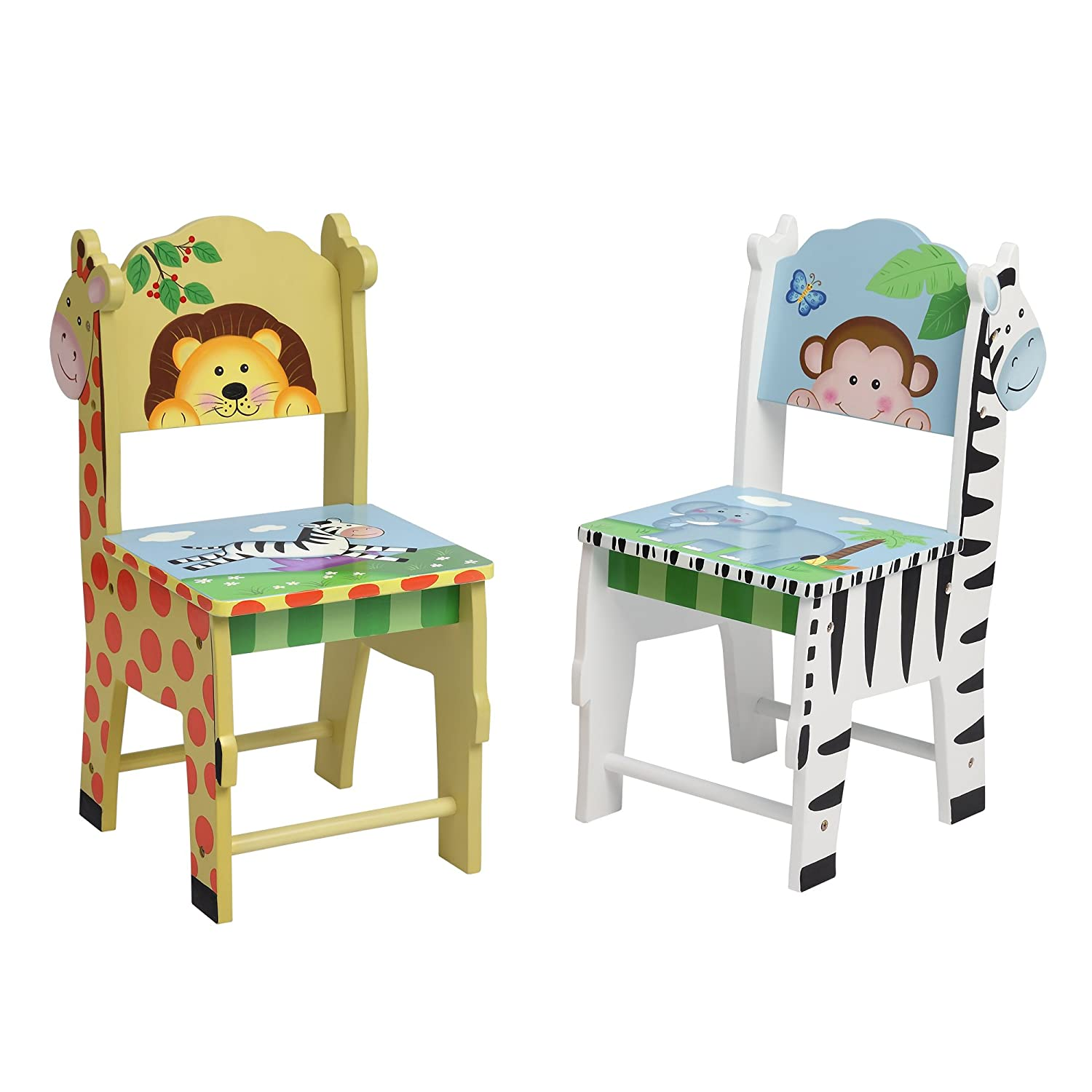 Fantasy Fields Chairs Set of 2 Chairs, White/Yello/Multi-Color