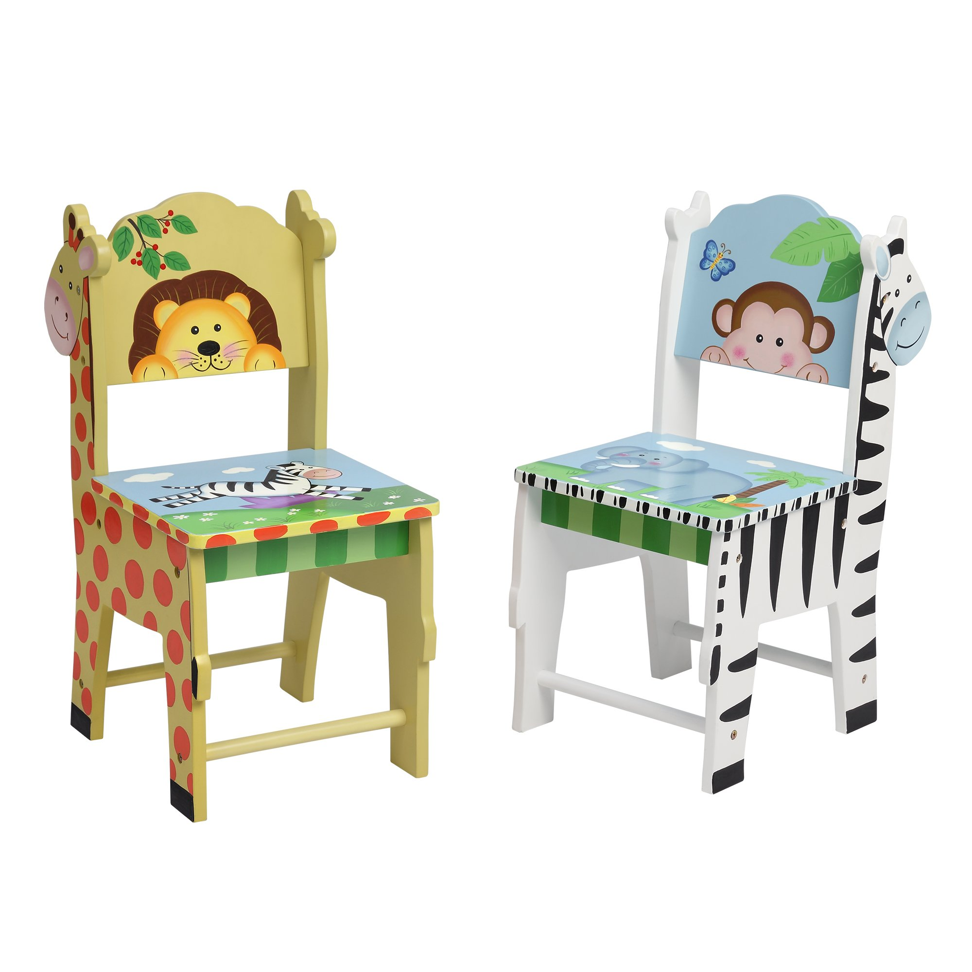 Fantasy Fields TD-0049A2 Sunny Safari Kids Crafted and Hand Painted Wooden Chairs (2 Piece), Yellow and Green, 13'' x 11.5'' x 26.75''