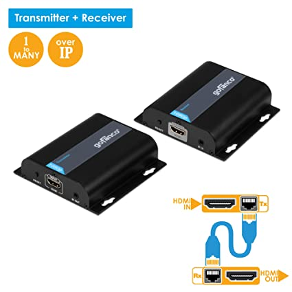 Amazon gofanco 395ft 1080p hdmi extender over ip kit 1 to gofanco 395ft 1080p hdmi extender over ip kit 1 to many or over single cat5e sciox Images