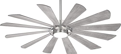 Minka Aire F870L-BS Windmolen 65 Outdoor Ceiling Fan with LED Light and Remote Control, Brushed Steel