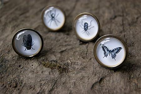 Lot De 4 Boutons De Tiroir Vintage Et Chic Avec Motif D Insectes