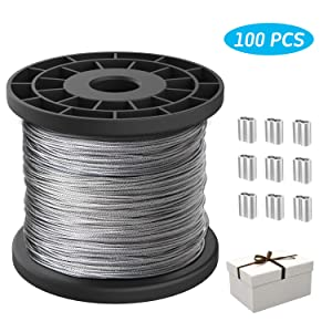1/16 Wire Rope,Stainless Steel 304 Wire Cable,7x7 Strand Core,328FT Length Cable,368 lbs Breaking Strength