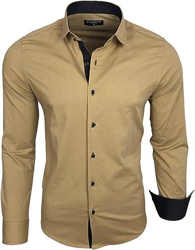 Baxboy Camisa de hombre de manga larga, para negocios, ocio, boda, fácil de planchar, ajustada, cuello Kent camisa B-500 beige M