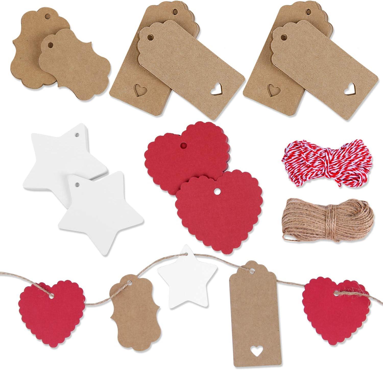 YouthUnion Etiquetas Navidad Regalo, 150pcs Etiqueta de Papel Kraft con Cuerda Árbol de Navidad Diseño de Renos de Copo de Nieve DIY Hecho de Mano para Amigos Familiares (estilo 2)
