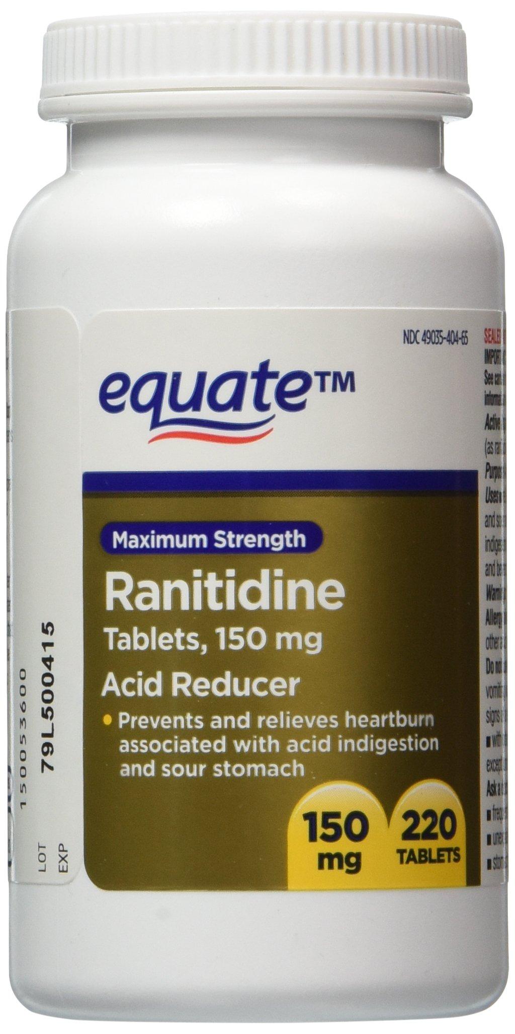 Equate Maximum Strength Acid Reducer, Ranitidine, Compare to Zantac, 150 Milligram, 220 Tablets