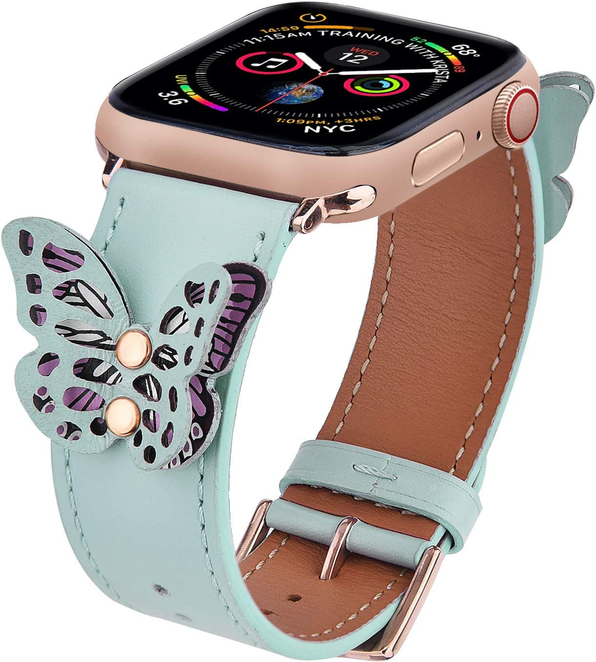 V-MORO Leather Band Compatible with 40mm Series 4 Apple Watch Bands 38mm Women Fashion Butterfly iWatch Series 3/2/1 Strap with Black Stainless Steel Buckle Girls(Mint Green,38/40)