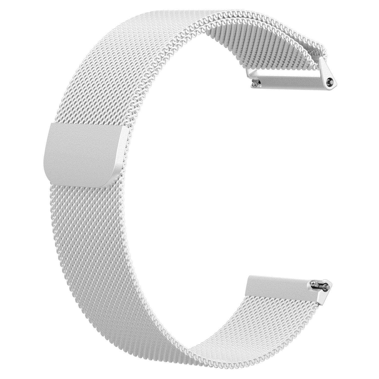 aWinnerバンドfor Fitbit Versa、ステンレススチールミラネーゼループメタル交換アクセサリーブレスレットストラップwith Uniqueマグネットロックfor Fitbit Versa Smart Watch S AW-VERSA-13 S|シルバー シルバー S B07BL2XTY9