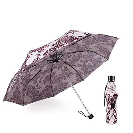 fff985deecd71 Amazon.com: Kobold Compact Travel Sun Folding Umbrella UV Protection Light  for Women Windproof Parasol Rain Umbrellas Pink Leopard Pattern: K&B ...