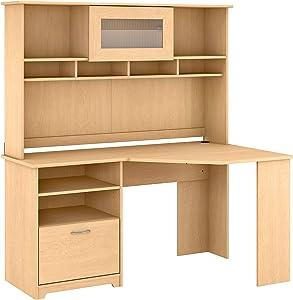 Bush Furniture Cabot Corner Desk with Hutch, 60W, Natural Maple