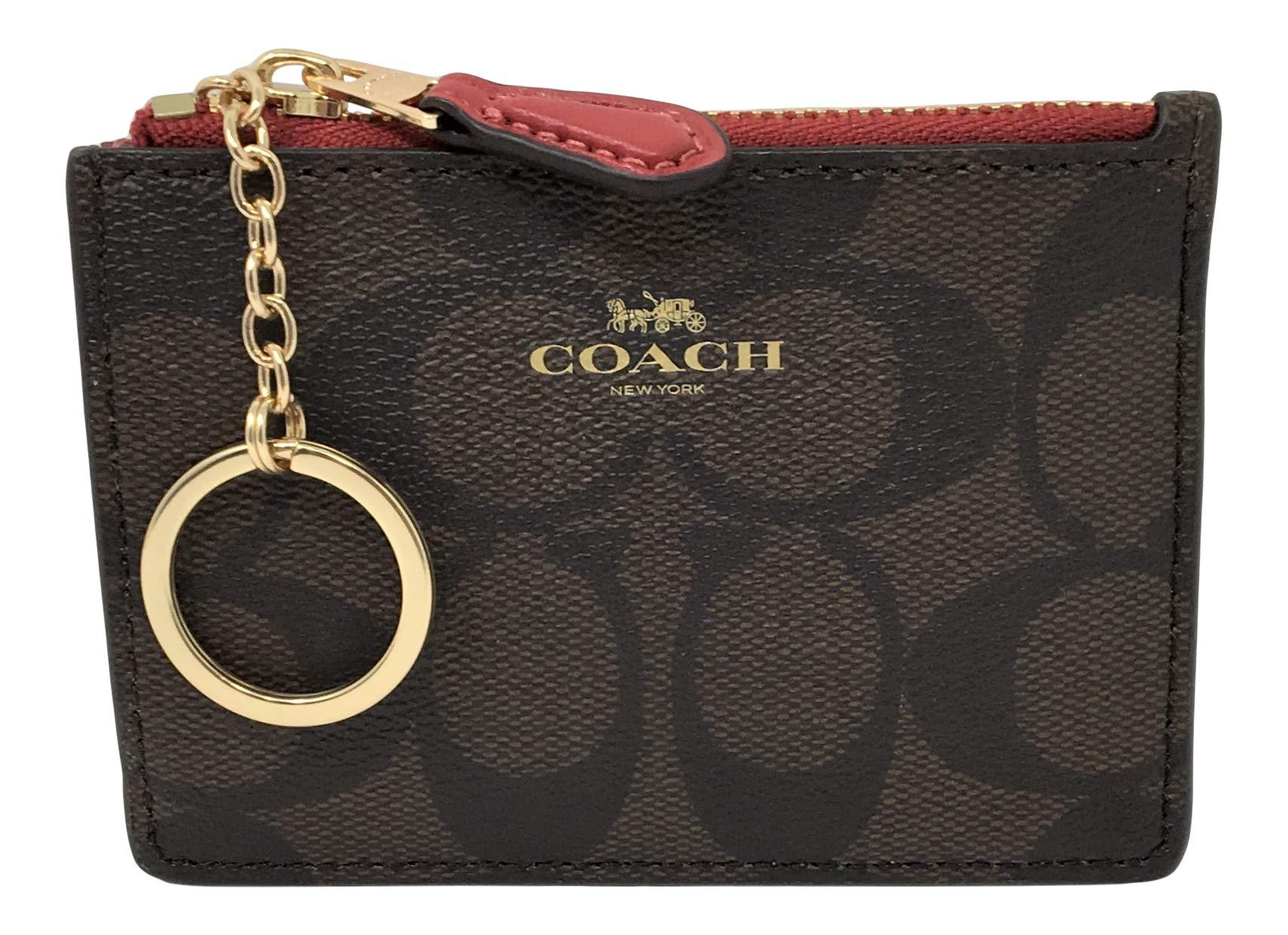 Coach F16107 Mini Skinny ID Badge Key Ring Case Brown-Ruby