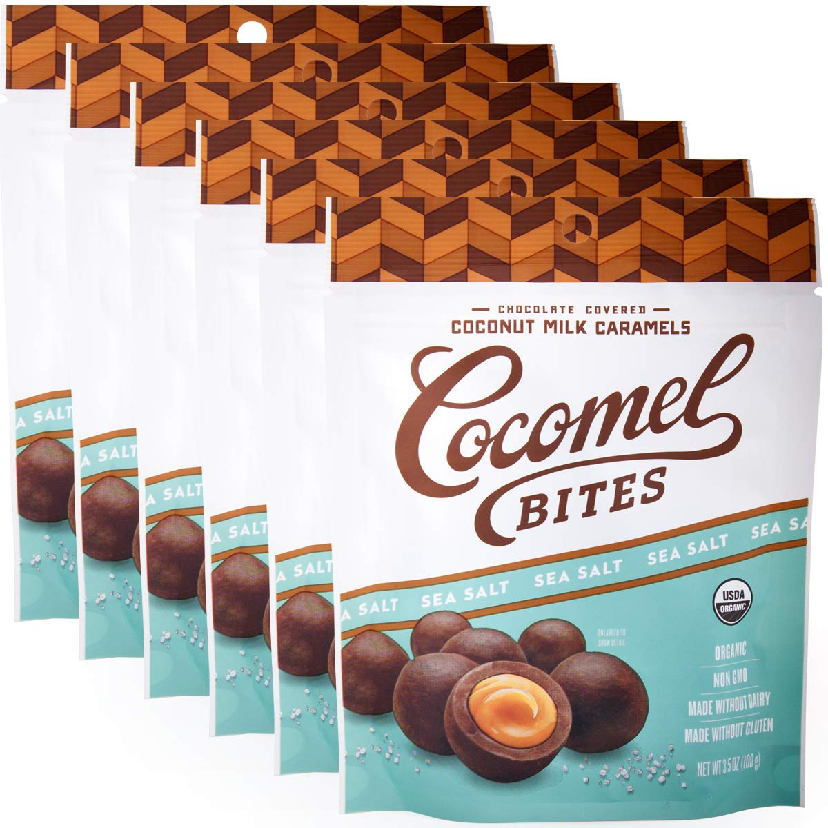 Cocomels Chocolate Sea Salt Caramel Bites, Organic Candy, Dairy Free, Vegan, Gluten Free, Non-GMO, No High Fructose Corn Syrup, Kosher, Plant Based, (6 Pack)