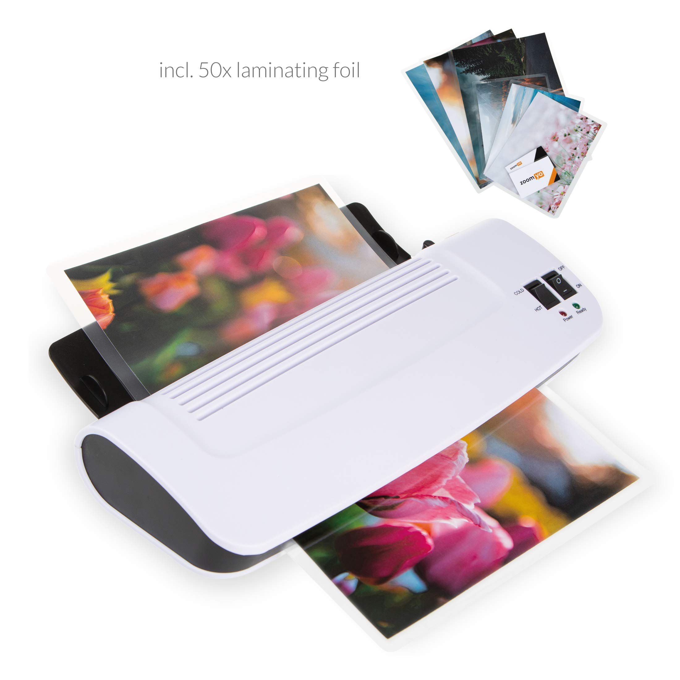 Zoomyo 9'' hot & cold laminator Z9-5 warms up in just 3 to 5 minutes by Zoomyo
