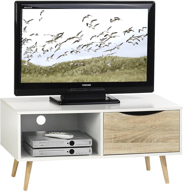 Mueble para televisor con cajón, IMPERIA y Estante madera DM, diseño de lunares, color blanco y roble sonoma: Amazon.es: Hogar