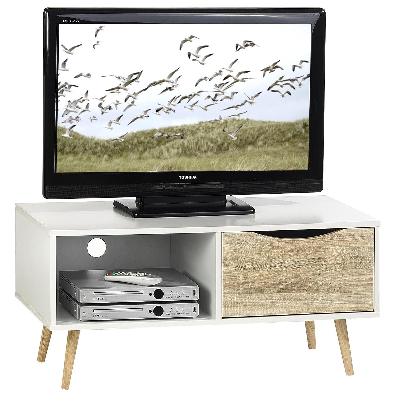 IDIMEX TV Kommode TV Rack Niedrigboard HiFi Möbel Fernsehtisch Beistelltisch Wohnzimmertisch Imperia, 1 Fach, 1 Schublade weiß Sonoma foliert