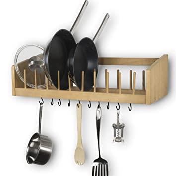 kitchen wood wall mounted rack shelf with metal rail and 10 s hooks pot pan plate
