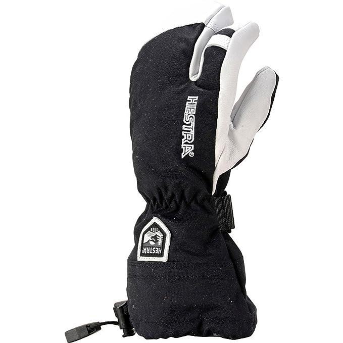 Hestra Army Leather Heli Jnr 3 Finger Kids Ski Gloves Black