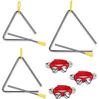 OPPRES Triángulo de 3 piezas para niños Instrumento de percusión con badajo de ritmo con campana de muñeca roja…