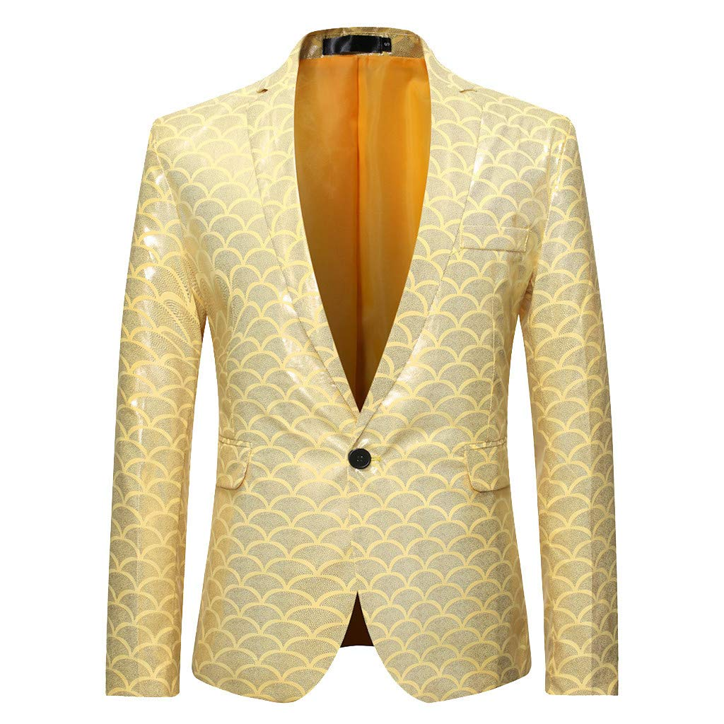 Mens Tuxedo Suit Slim Fit Hot Stamping Blazer Performance Jacket for Dinner Party Prom Wedding(A Yellow,XL) by VZEXA
