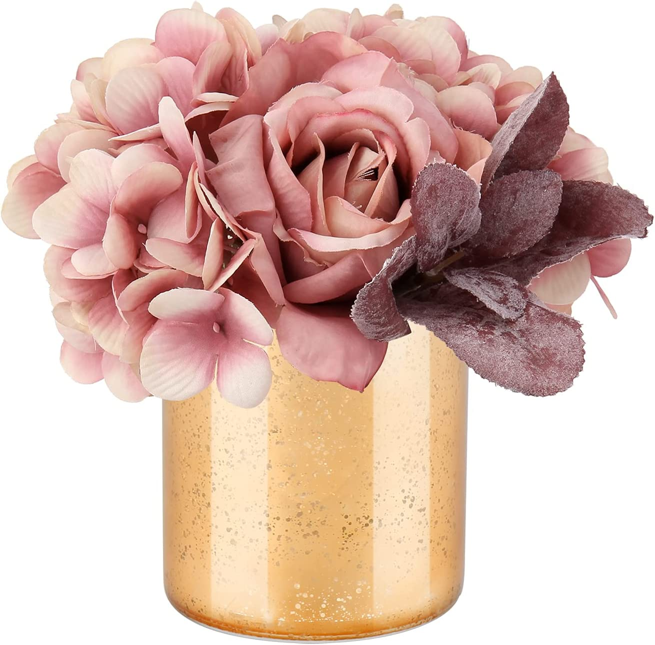 Artificial Flowers with Vase Fake Rose Hydrangea Flower for Home Office Wedding Table Decor -Pink Flowers Pink Decor