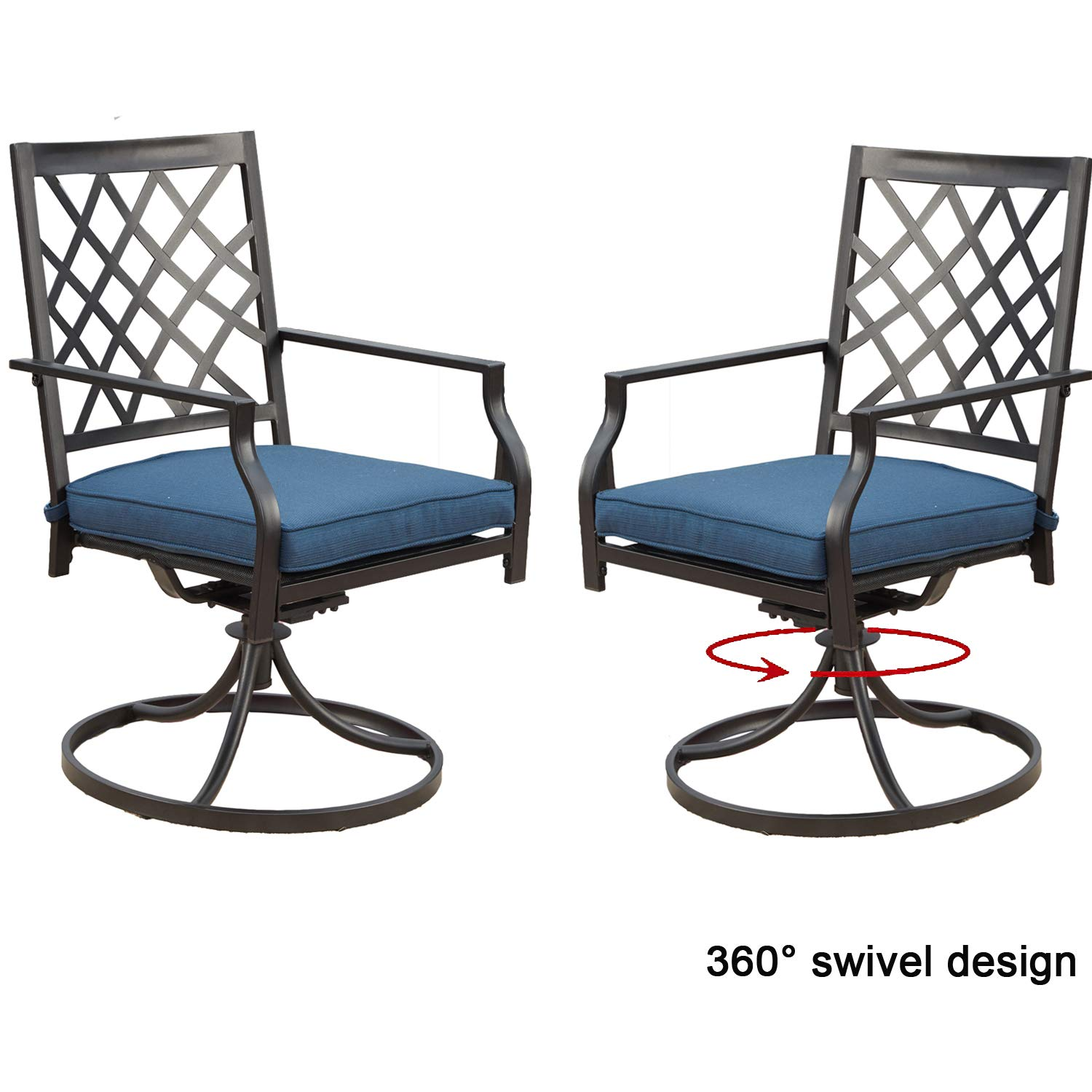 Top Space Outdoor Swivel Chairs Patio Rocker Lounge Chair Metal Bistro Set Club Arm Chair Dining Furniture for Garden Backyard (Set of 2, Blue) (2 Chairs)