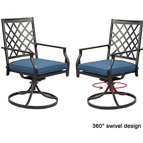 Top Space Outdoor Chair Patio Chairs Swivel Rocker Chairs Patio Dining Chair Iron Metal Bistro Set Club Arm Chair Dining Furniture for Garden Backyard Set of 2, Blue
