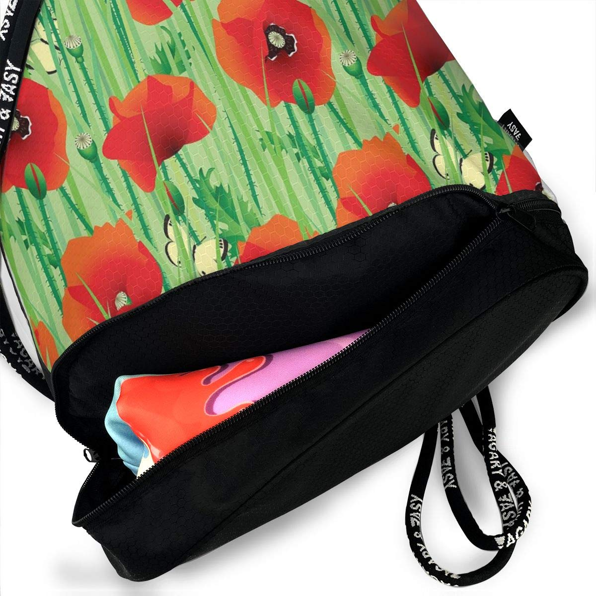 Seuriamin Spring Scarlet Poppy Flowers Field With Butterflies Bundle Mouth Pocket Bag