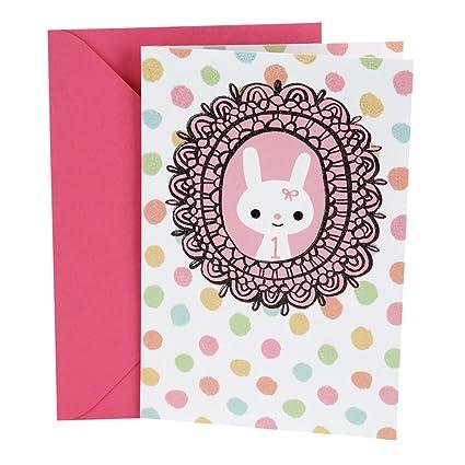 Amazon Hallmark 1st Birthday Greeting Card For Girl Bunny In