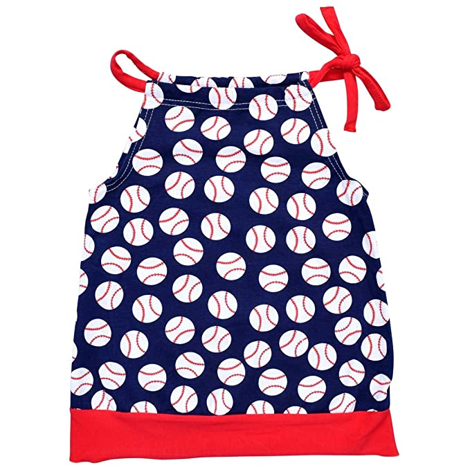 3a8542d9e1ad Amazon.com  Unique Baby Girls Baseball Pillowcase Dress Blue  Clothing