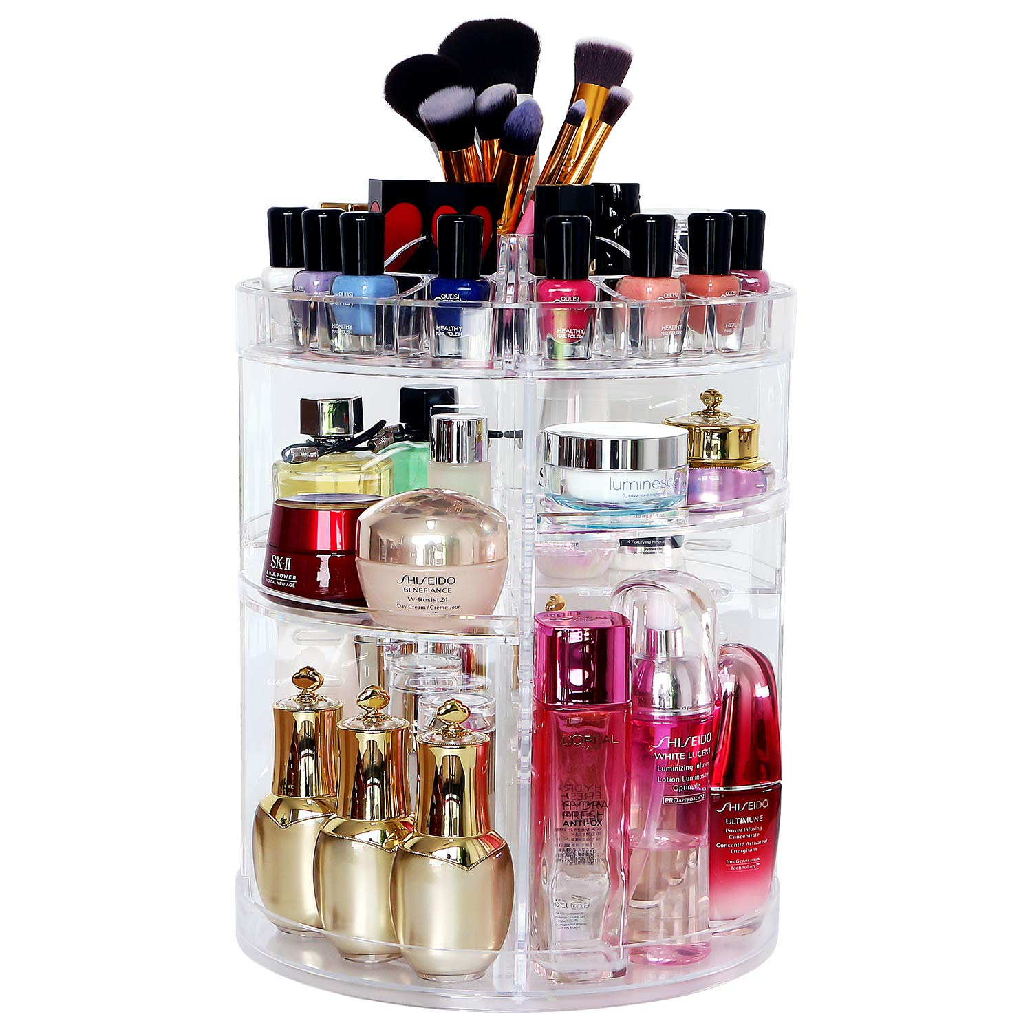 514190a808ca COOLBEAR Makeup Organizer,360 Degree Rotating Adjustable Acrylic Cosmetic  Storage Display Case with 6 Layers Large Capacity, Fits Creams, Makeup ...