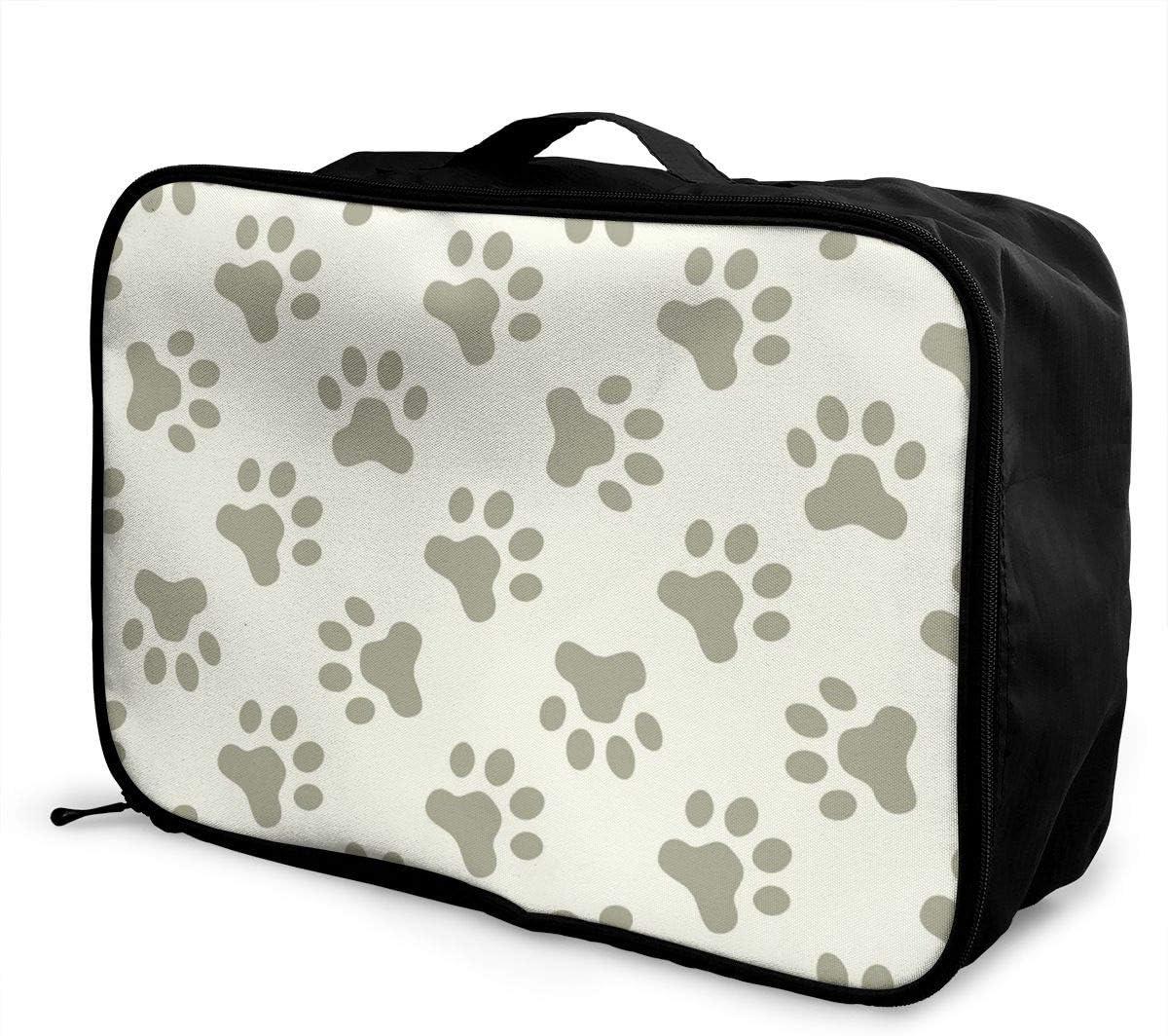 Yunshm Cat Or Dog Paw Seamless Pattern Vector Image Customized Trolley Handbag Waterproof Unisex Large Capacity For Business Travel Storage