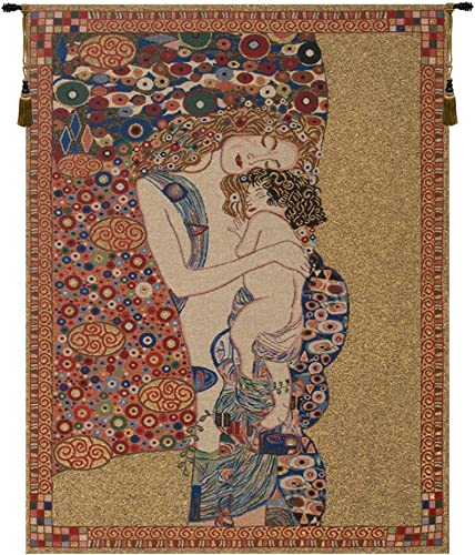 Charlotte Home Furnishings Inc. Klimt s Mother and Child Belgian Small Tapestry Wall Hanging Viscose, Cotton and Polyester Blend Wall Art 25 in. x 34 in. Home Decor Accents
