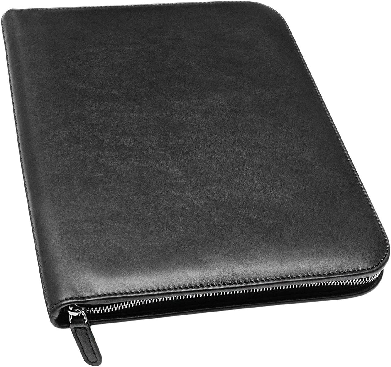Maruse Personalized Italian Leather Executive Portfolio Padfolio, Folder Organizer with Zip Closure and Writing Pad, Handmade in Italy, Custom Black