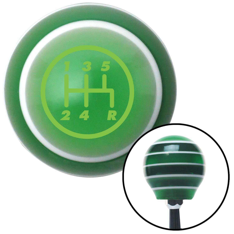 Green 5 Speed Shift Pattern - 5RDR American Shifter 126691 Green Stripe Shift Knob with M16 x 1.5 Insert