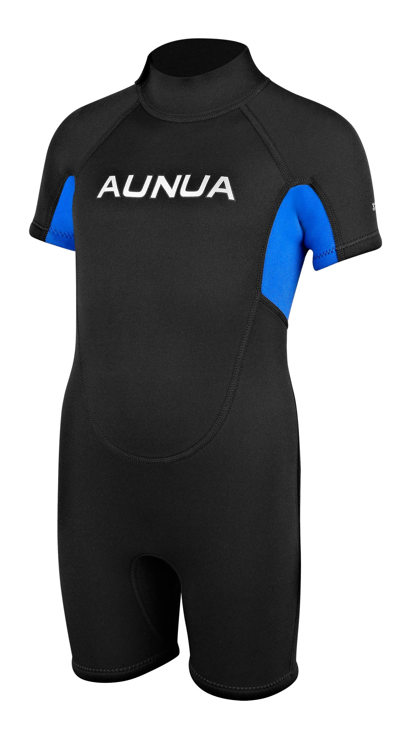 Aunua Children's 3mm Youth Swimming Suit Shorty Wetsuits Neoprene for Kids Keep Warm(7035 BlackBlue 4)