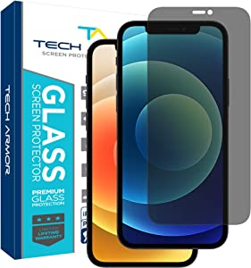 Tech Armor Privacy Ballistic Glass Screen Protector for New Apple iPhone 12 (6.1