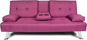 Quimat Futon Sofa Bed Modern Linen Upholstered Couch, Convertible Folding Recliner Lounge Futon Couch with 2 Cup Holders/Armrest/Metal Legs for Living Room, Home Furniture, School Dormitoryl, Purple