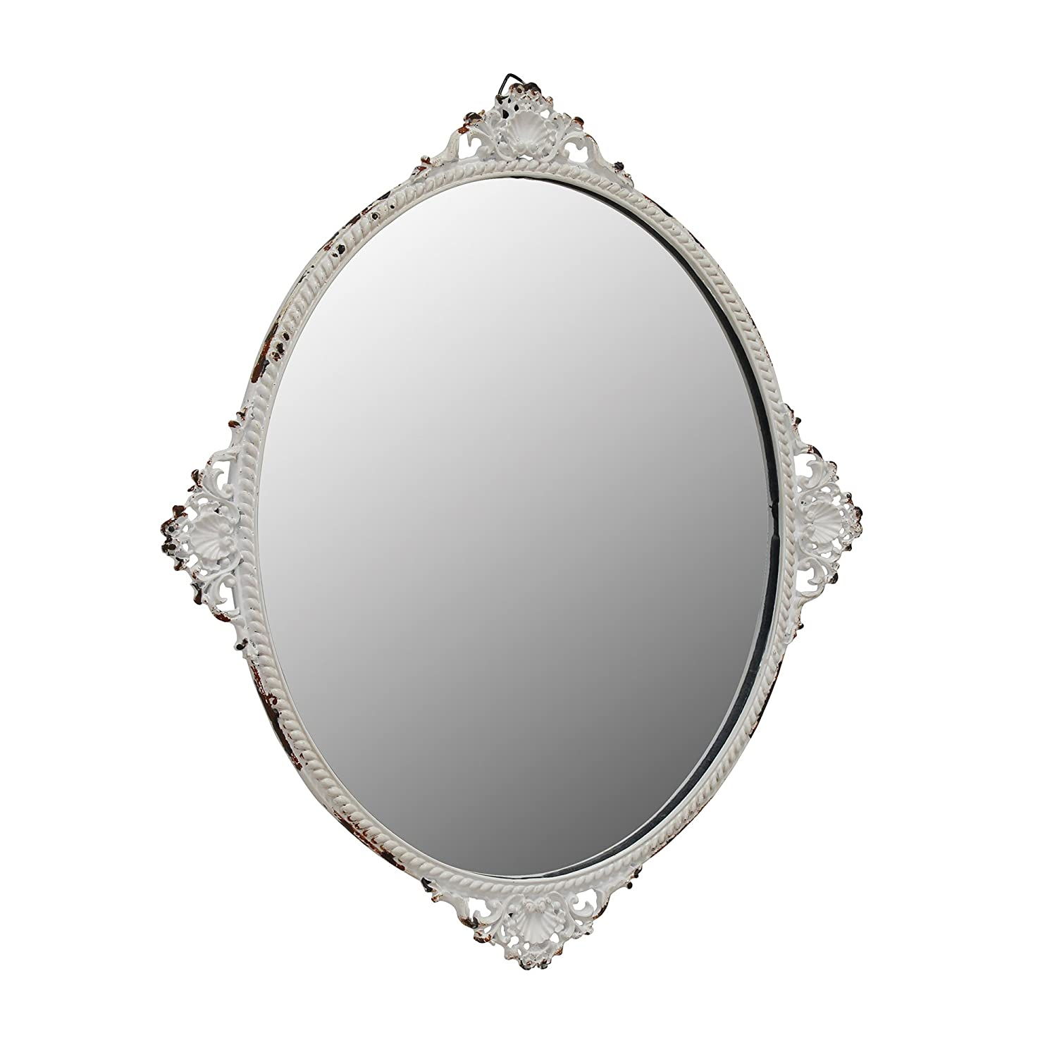 Stonebriar Decorative Oval Antique White Metal Wall Mirror, Vintage Home Décor for Living Room, Kitchen, Bedroom, or Hallway, French Country Decor, For Table Top or Wall Hanging Display CKK Home Décor SB-6081M