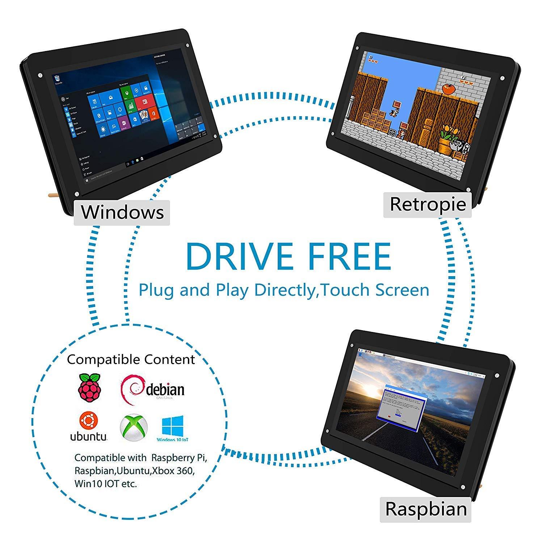 for Raspberry Pi 3 B+, 5 inch Capacitive Touch Screen HDMI Monitor -  800x480 HD LCD Display Screen, Drive Free for Raspberry Pi/Windows  10/Beagle Bone